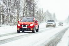 Car In The Winter Road In Rova...