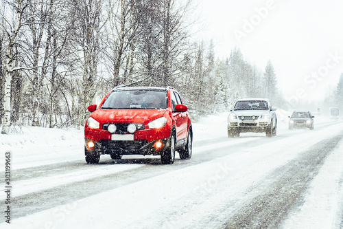 Photo sur Toile Europe du Nord Car in the winter road in Rovaniemi at Lapland, Finland