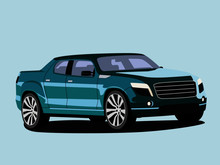 Pickup Green Realistic Vector Illustration Isolated