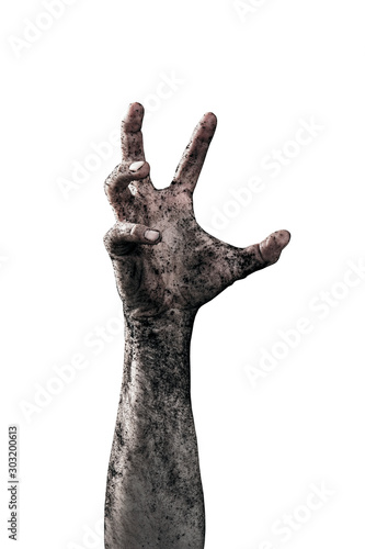 Fotografija Zombie hand dirty with soil isolated on white background