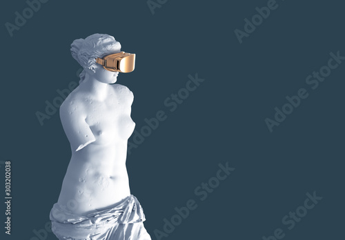 3D Model Aphrodite With Golden VR Glasses On Blue Background Fotobehang