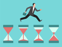 Hurrying Business Man Runs On Hourglasses Illustration. Concept Of Time Management, Deadline Or Urgency. Businessman, Manager Hurry Up Vector