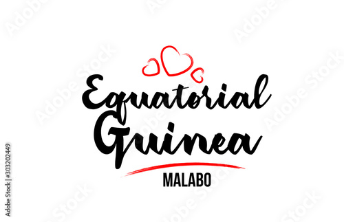 Fotomural  Equatorial Guinea country with red love heart and its capital Malabo creative ty