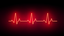 Neon Light Heart Pulse Shape Vector Background