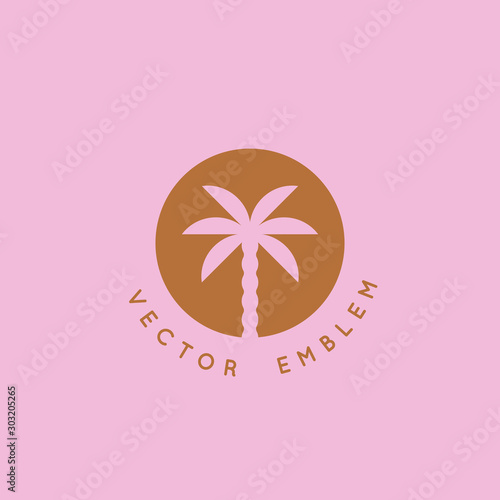 Vector logo design template with palm tree Wall mural