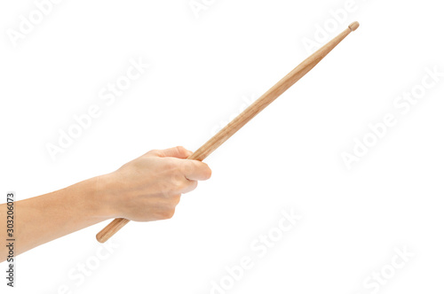 Fototapeta Woman's hand holding drum stick isolated on white background. obraz