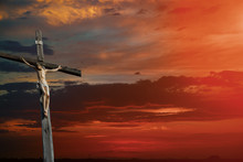 Christian Cross On Sunset Sky ...