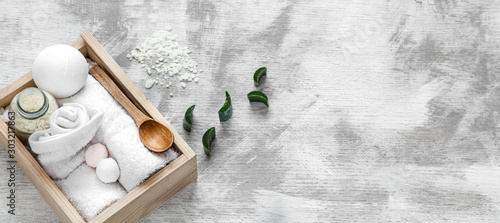 Fotobehang Spa Spa skin care items in wooden box .