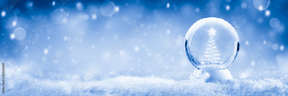 Fototapety, obrazy: Snow Globe With Christmas Tree And Star Made Of Lights And Soft Falling Snow Background - Christmas Concept