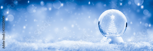Snow Globe With Christmas Tree And Star Made Of Lights And Soft Falling Snow Background - Christmas Concept
