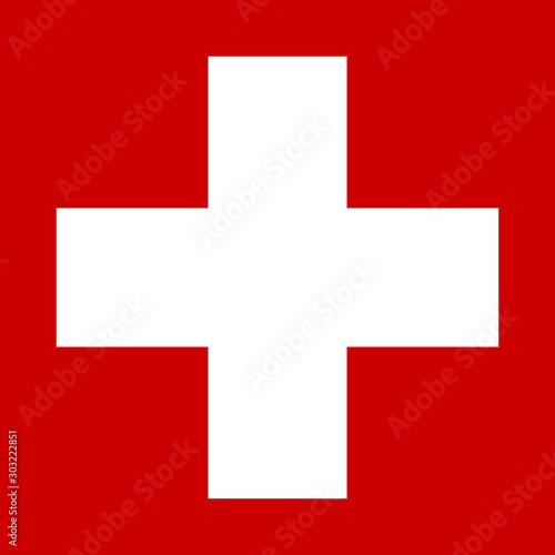Fotografiet White cross on red background - stock vector