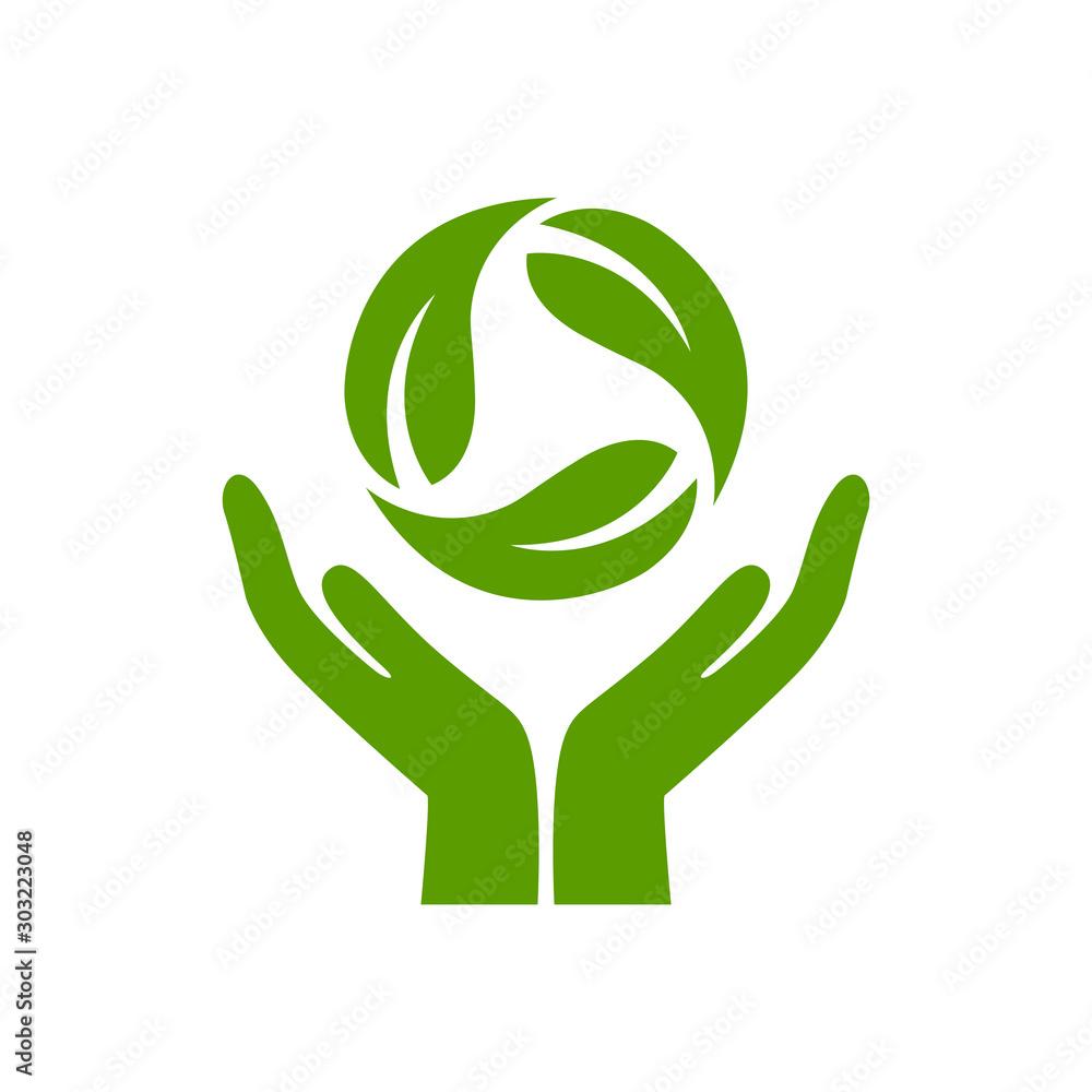 Fototapeta Eco recycle green logo design – stock vector