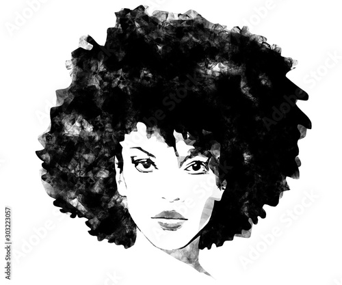 African American woman with big afro hair black and white fashion background ske Wallpaper Mural