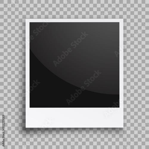 Obraz na plátně  Empty black photo frame with shadows - vector