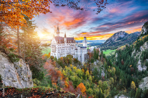 Majestic sunset view of famous Neuschwanstein Castle in autumn. Canvas Print