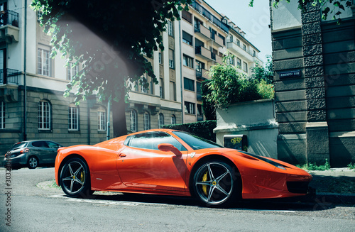 Photo STRASBOURG, FRANCE - MAY 28, 2018: Side view of expensive luxury car of red colo