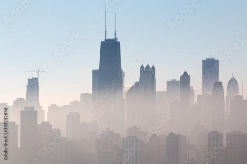 Chicago Skyline, Lake Michigan, and Lincoln Park Enveloped in Autumn Sunrise Fog