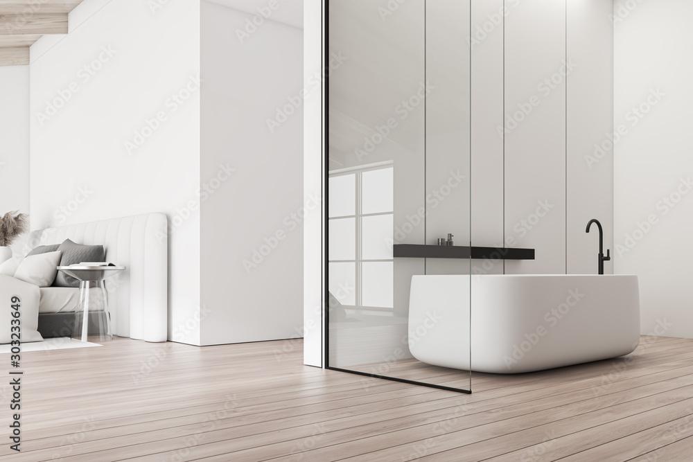 Fototapety, obrazy: Attic bathroom interior with bedroom
