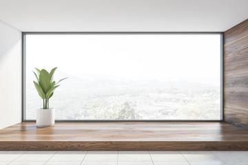 Empty panoramic wooden room interior