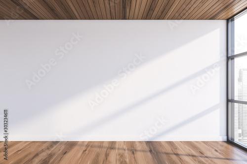 Obraz Empty white room with wooden floor - fototapety do salonu