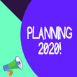 canvas print picture - Word writing text Planning 2020. Business photo showcasing process of making plans for something next year Half part blank huge balloon empty text with small megaphone. Announcement