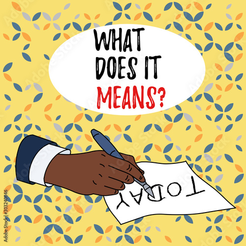 Conceptual hand writing showing What Does It Means question Wallpaper Mural