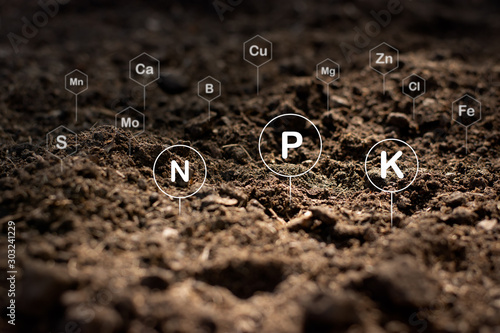The fertile loamy soil for planting with the iconic technology in soil is the essential food of plants Fotobehang