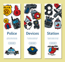 Police Justice Symbol Icons Vertical Banner Vector Illustration. Collection Of On-duty Policemen Signs, Symbols Of Policing And Justness Web Banners.
