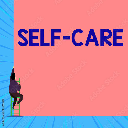 Fototapeta Text sign showing Self Care. Business photo showcasing the practice of taking action to improve one s is own health Back view young man climbing up staircase ladder lying big blank rectangle obraz na płótnie