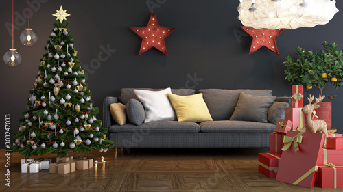 Fotografie, Obraz Christmas Room with gift and ornament