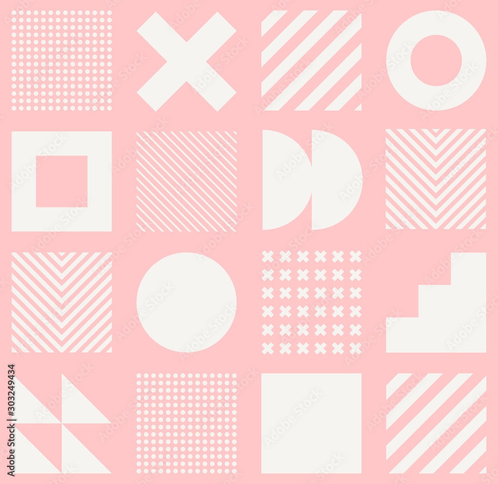 Fototapeta Vector geometric seamless pattern with simple shapes. Abstract minimalistic background.