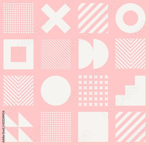 Fototapeten Künstlich Vector geometric seamless pattern with simple shapes. Abstract minimalistic background.