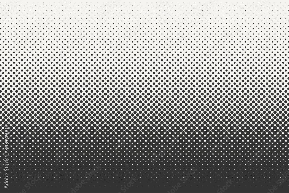 Fototapeta Vector halftone dots background. Black and white comic pattern.