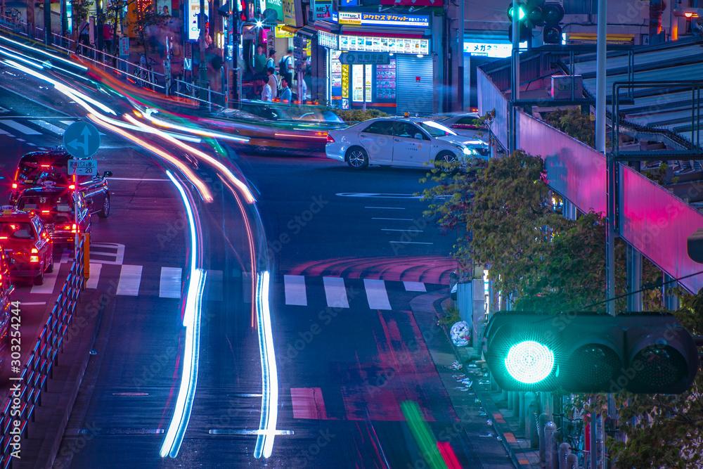 Fototapety, obrazy: A night of the neon street in Shinjuku Tokyo high angle long shot