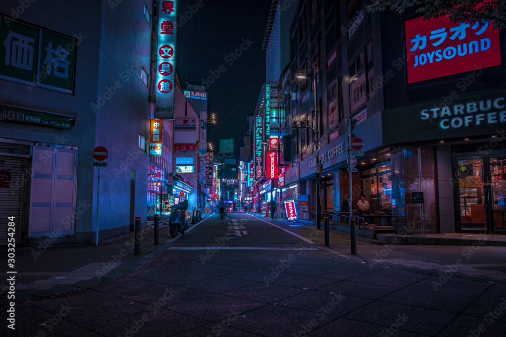 Fototapety, obrazy: A night of the neon street at the downtown in Shinjuku Tokyo wide shot