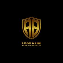Initial Letters AB Shield Shape Gold Monogram Logo. Shield Secure Safe Logo Design Inspiration