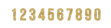 Set Of Golden Numbers. Numbers From 0 To 9 With Shimmering Glitter Isolated On White Background. Golden Dust, Vector Illustration, EPS10