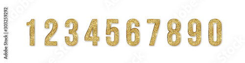 Set of golden numbers Fototapet