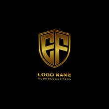 Initial Letters EF Shield Shape Gold Monogram Logo. Shield Secure Safe Logo Design Inspiration