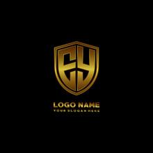 Initial Letters EY Shield Shape Gold Monogram Logo. Shield Secure Safe Logo Design Inspiration