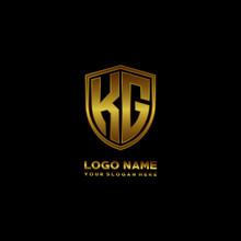 Initial Letters KG Shield Shape Gold Monogram Logo. Shield Secure Safe Logo Design Inspiration