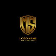 Initial Letters MS Shield Shape Gold Monogram Logo. Shield Secure Safe Logo Design Inspiration