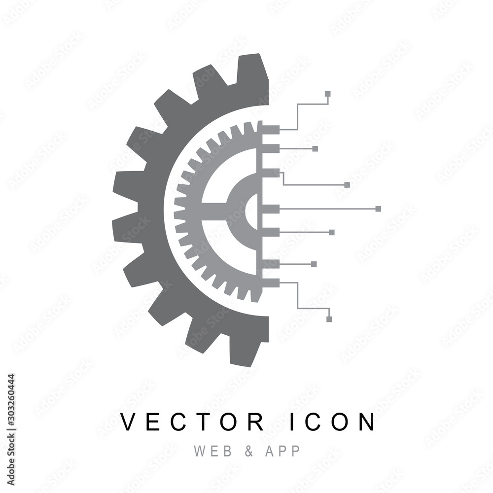 Fototapeta Gear with chip. Flat design style, Gear electronic circuit technology icon line Vector illustration.