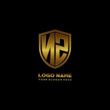 Initial Letters NZ Shield Shape Gold Monogram Logo. Shield Secure Safe Logo Design Inspiration