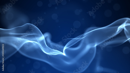 Fotobehang Abstract wave Abstract blue color digital particles wave with bokeh and light background