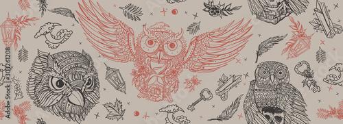 Owls. Retro seamless pattern. Old school tattoo style. Vintage fairy tale art...