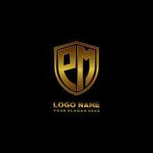 Initial Letters PM Shield Shape Gold Monogram Logo. Shield Secure Safe Logo Design Inspiration
