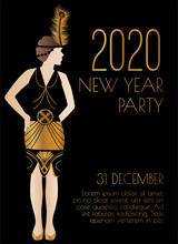 2020 New Year Art Deco Style Party Invitation Design With Girl