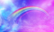 canvas print picture - fantasy magical landscape rainbow on sky abstract big volume texture fluffy clouds shine close up view straight, cotton wool, pink purple pastel colors sun fabulous background