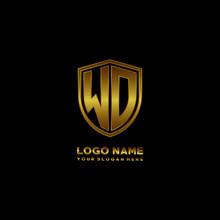 Initial Letters WD Shield Shape Gold Monogram Logo. Shield Secure Safe Logo Design Inspiration